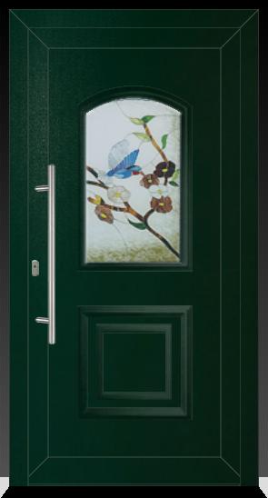 012 Kunststoffhaustür innen Ral 9016 weiss / außen Ral 6005 Moosgrün