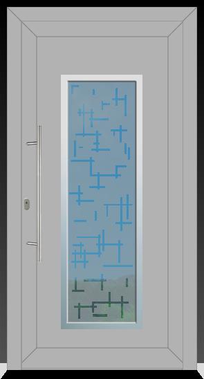 701 Kunststoffhaustür mit Aluschalle innen Weiss aussen Ral 9006 Weißaluminium