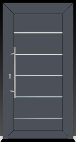 902 Kunststoffhaustür mit Aluschalle innen weiss /außen Ral 7015 Schiefergrau