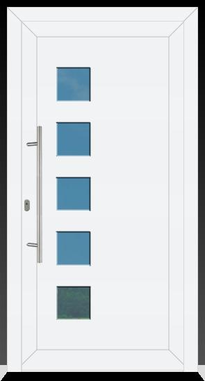 929 Kunststoffhaustür Innen Weiß / Außen Weiß