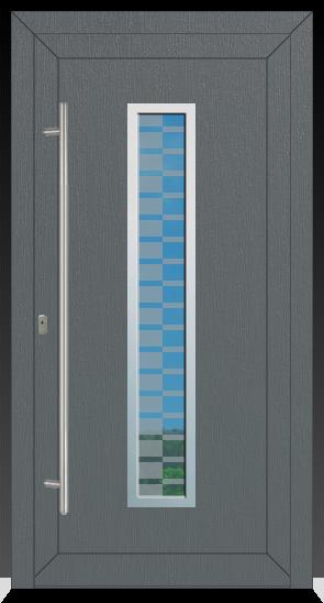 754 Kunststoffhaustür beidseitig Ral 7012 Basaltgrau